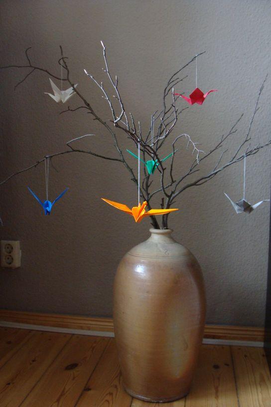 Vase mit Origami Kranichen