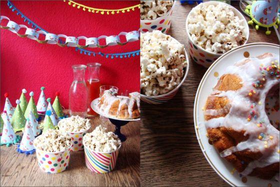 Popcorn und Kuchen