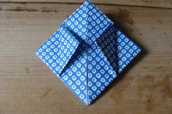 Origamiblatt Aussenecken gefaltet