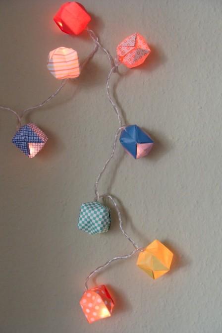 Detail Origami-Lichterkette
