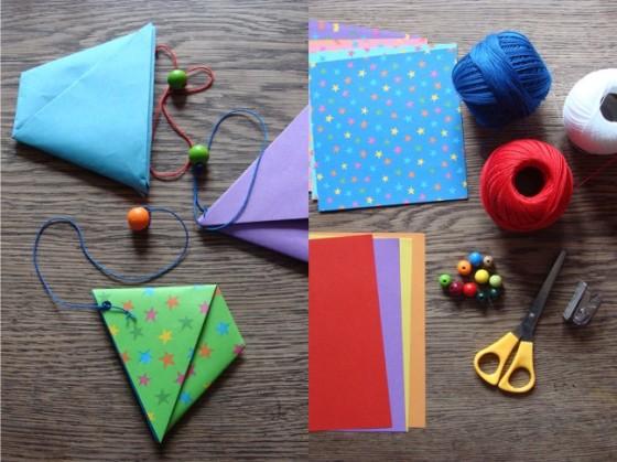 Origamispiel und Materialien